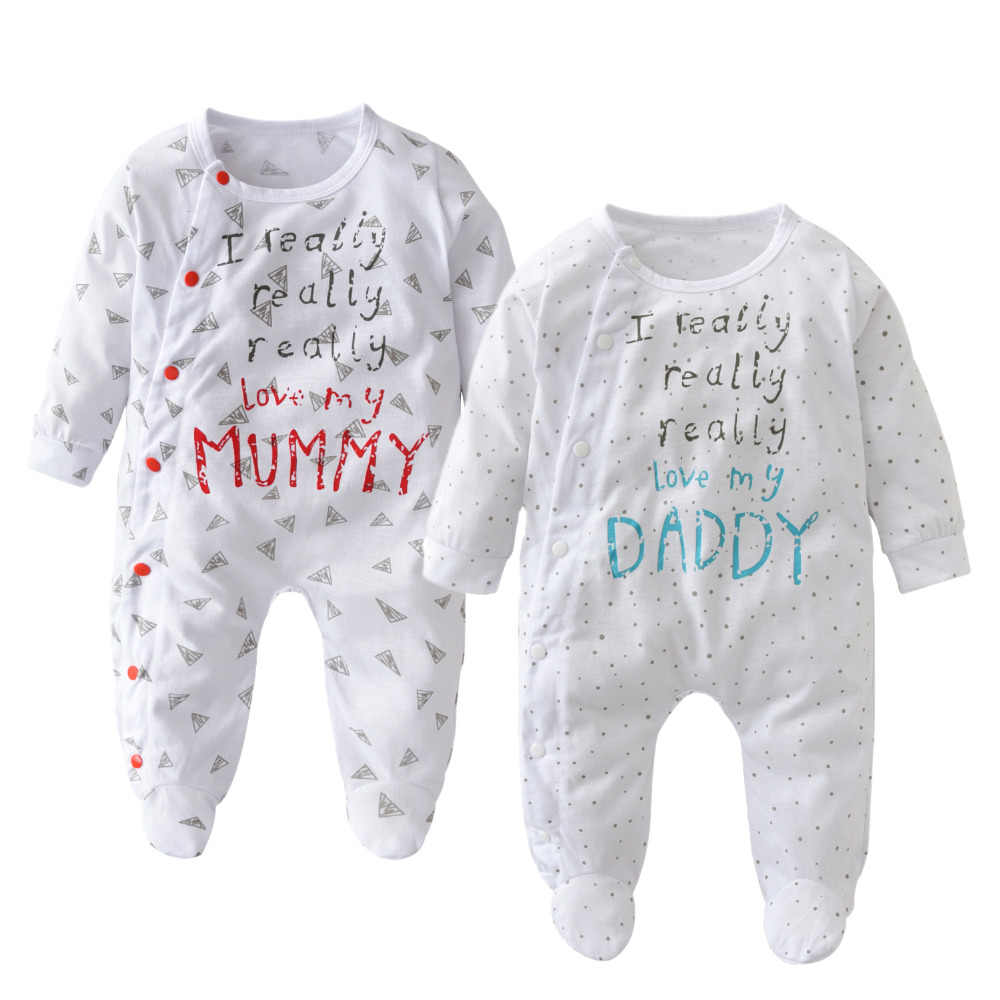Baby Girls Boys Romper Outfits I Love Mom Dad Cotton Bodysuit Jumpsuit Clothes