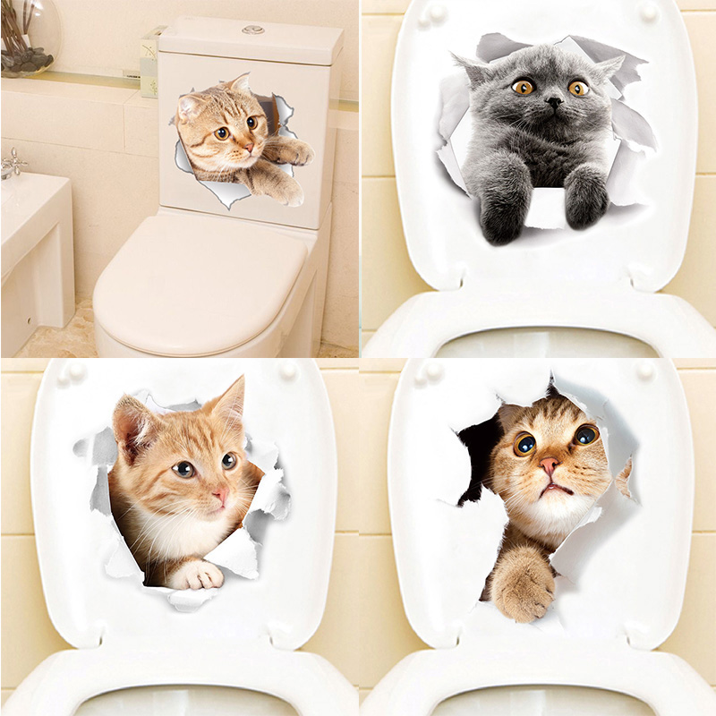Cartoon animal 3d toilet stickers on the toilet seat cute cats PVC wall sticker bathroom refrigerator door decor stickers decals (1)