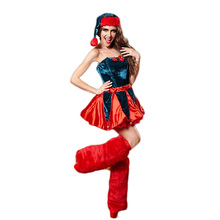 New Arrival 2016 Fashion Christmas Miss Santa Claus Dress Sexy Women Blue Strapless Dress with Hat for Women Xmas Gifts W680502