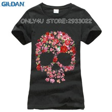 GILDAN 2017 Summer Modal T shirt Women Flower Skull Print Short Sleeve White Casual Tees Women Tops(China)