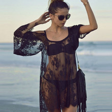 Ladies Sexy Lace Swimsuit Dresses Robe Tunique De Plage Beach Dresses See Through Shirts Bathing Suit Beach Dress Tunic