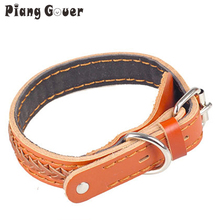 Dog harness Genuine cowhide Leather Small big large pet dog collar golden retriever collar two sizes(China)