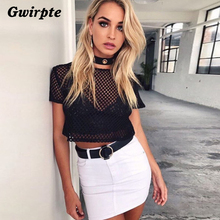 Gwirpte 2017 fashionable woman net top grid hollow-out midriff fashion T-shirt short sleeve T-shirt with short sleeves