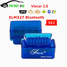 Super Mini ELM327 V2.1 Bluetooth Viecar 2.0 OBD2 Auto Code Reader Diagnostic Tool ELM 327 V2.1 Works on Android/PC ELM-327 V 2.1