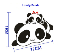 Lovely 11 x 17CM Cotton Panda Car Sticker Reflective Vinyl Material Creative Cars Door Decals Scratch Sticker Black Color(China)
