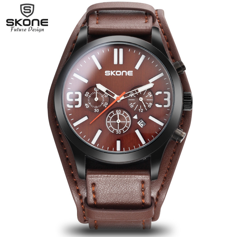 SKONE Wrist Mens Watches Top Brand Luxury Amry Military Clock Men Leather Watch Chronograph 6 Hands 24 Hours Watch reloj hombre<br>