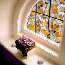 Funlife 45x200cm Best Quality Scrub Window Film 3D Cobblestone Stained Glass Film Privacy Decorative UV Anti Static Cling Glass(China)