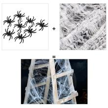 Halloween White Spider Web With Black Spiders Prank Halloween Props Spider Funny Toy Party Bar KTV April Fool'S Day Decoration