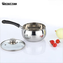 GXYAYYBB 3 Models Milk Boiling Pot with Balck Handle Stainless Steel Milk Pot Restaurant Soup Pot FreeShipping(China)