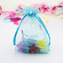 20x30cm Lake Blue Butterfly Printing For Thanksgiving Party Favors Can Be Custom Logo 100pcs/Lot Drawstring Organza Gift Bags