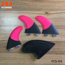 FCS base G5 M size surfboard fins surfing thrusters made of carbon and pink fiberglass