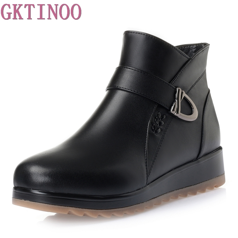 New 2017 Autumn Winter Shoes Women Flat Heel Boots Fashion Womens Boots Genuine Leather Woman Ankle Botas Hard Outsole<br>