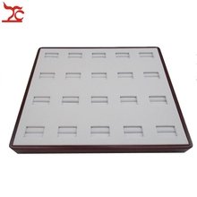 High Quality Jewelry Display 20 Ring Display Tray Wooden Painted Matte Holder Pallet With Super Leatherette Tray