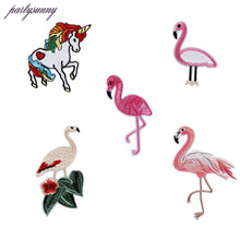 Flamingo Unicorn Embroidery Patches Hand Sewing Applique For Stripes Clothing Accessory Jacket Shoe Hat Bag Clothing TB023(China)