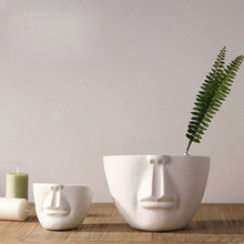 Man face flower pots planters home decoration modern desktop decor bar shop creative DIY gifts white ceramic pots