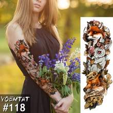 New 1 Piece Temporary Tattoo Sticker Fox Rabbit Full Flower Tattoo with Arm Body Art Big Large Fake Tattoo Sticker(China)