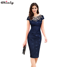Oxiuly Womens Elegant Floral Print Hollow Out Embroidered Ruched Pencil Bodycon Special Occasion Evening Party Sheath Dress(China)