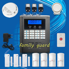 Free Shipping!Wireless Home GSM PSTN Telephone Auto-dial Security Burglar Alarm System Kit+Panic Button+Smoke Sensor+new PIR