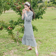 New Spring Autumn Women Vintage O-Neck Half Sleeve Hollow Out Unique Handmade 50% Wool Crochet Knitted Long Dress