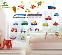 Cartoon airplanes trains ships Children Room vinyl wall stickers for kids rooms boys living room sofa wall decals wallpaper