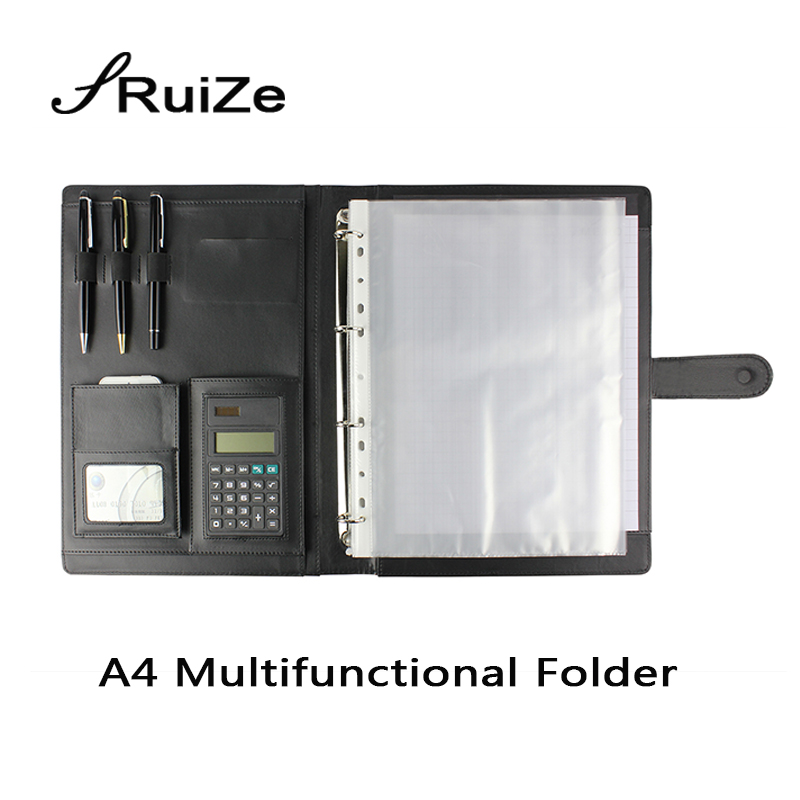 RuiZe office supplies leather folder organizer padfolio soft cover 4 ring binder big A4 file folder with calculator and notepad<br>
