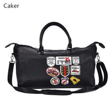 Caker Brand 2017 Women Letter PU Handbags Large Casual Totes Black Medal Jumbo Hand Bags High Quality Oversize Travel Bags(China)