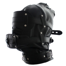 Buy Gothic Lockable Leather Padded Fetish Hood Mouth Ball Blindfold Head Restraints Cover Sexy Toy Black Harness Mask