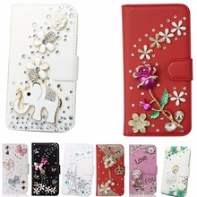 Fashion PU Leather Diamond Crystal Rhinestone Purse Flip DIY Card Pouch Protective Bling phone Cover For Galaxy core prime G360(China)