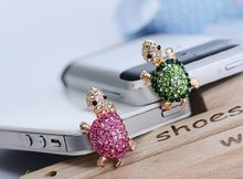 For iphone Anti Dust Plug Universal 3.5mm Ear Jack Mobile Phone Accessories Crystal Cute Turtle Earphone Jack Plug for Xiaomi