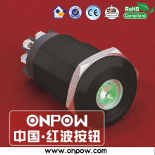 ONPOW 19mm black latching dot illuminated pushbutton switch anti-vandal  LAS1GQ-11ZD/L/G/12V/A