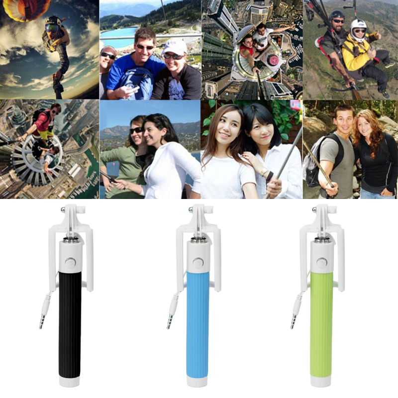 OOTDTY Mini Foldable Drive-By-Wire Selfie Stick Cell Phone Holder Handheld Monopod