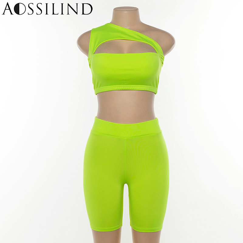 Womens Casual Summer Backless Hollow Out Full Tracksuit Tops+Shorts Sportwear ##