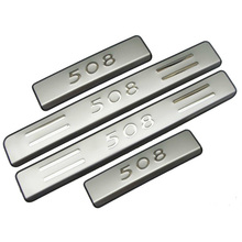 For Car Styling 2012 Peugeot 508 Scuff Plates Stainless Steel Door Sill Strip Welcome Pedal Car  Stickers car Accessories 4pcs