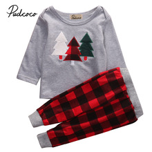 2017 Unisex Toddler Kids Baby Boy Girl Clothes Christmas Tree Top T-shirt Plaid Pant 2pcs Outfit Clothing Set 1-6Y Xmas wear(China)