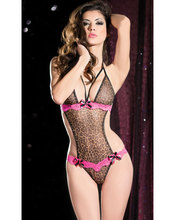 Sexy Adult Lingerie Purrfect Temptress Leopard Teddy mesh teddy with pink lace erotic Teddy Set G2209