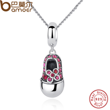 BAMOER Luxury 925 Sterling Silver Red Crystal Shoes Pendant Necklace For Women Necklace Jewelry CC027(China)