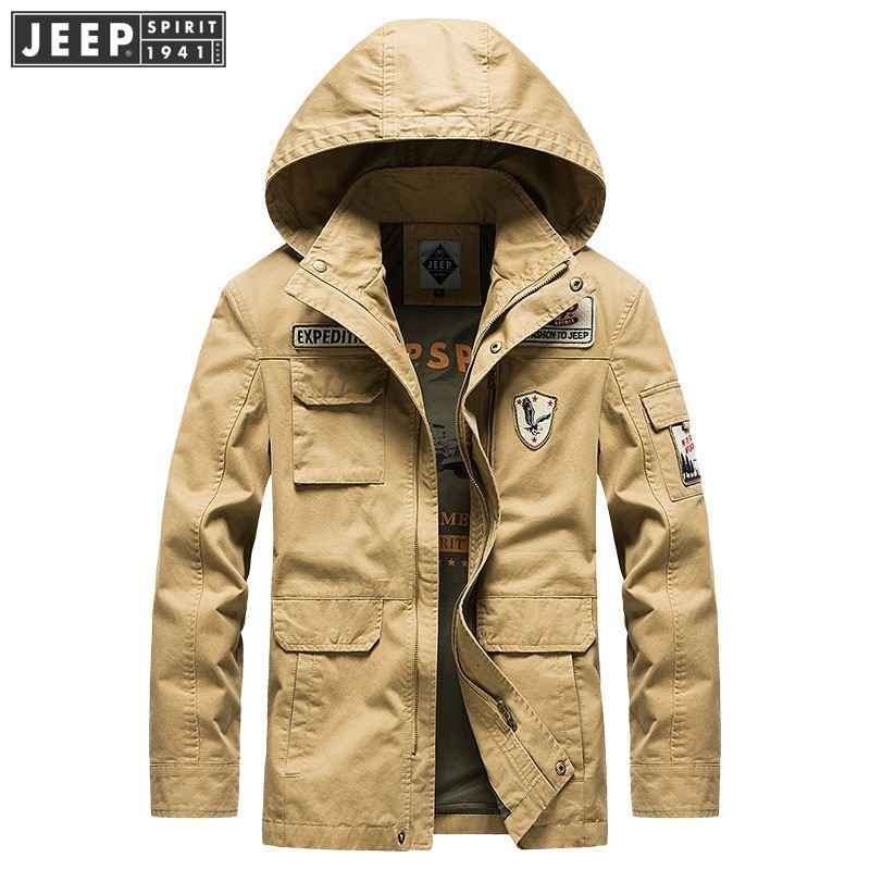 JEEP SPIRIT 2018 Autumn Spring Cargo Jackets Coat Safari Hooded Collar Cotton Clothes Long Sleeve Solid Color Fashion Jacket