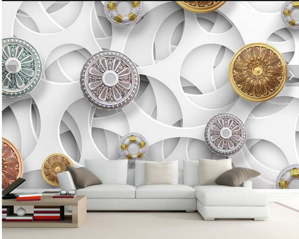 Custom geometric wallpaper, modern fashion three-dimensional 3D pattern for living room bedroom sofa background wallpaper<br>