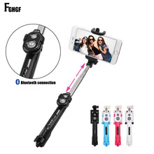 Foldable Mini Selfie Stick Self Bluetooth Selfie Stick+Tripod+Bluetooth Shutter Remote Controller for iPhone ios Android Selfie Stick(China)