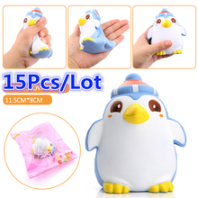 2017 15Pcs/Lot Kawaii Penguin Baby Doll Squishy Slow Rising Jumbo Cartoon Phone Straps Pendant Charms Scented Bread Kid Toy Gift