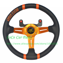 Free Shipping: 14 inch LYJ Motorsport Racing Steering Wheel 350mm Drifting Steering Wheel Leather With Carbon Fiber Button(China)