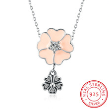 925 Sterling Silver Heart Pendant Fine Jewelry Fashion Flower Enamel Long Chain Necklace For Women Lady Collares Brithday Gifts