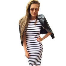 Buy Women Dress Short Sleeve Striped Dress O-Neck Slim Fit Bodycon Dress Striped T Shirt Sheath Dress women clothing LJ4862M for $8.99 in AliExpress store