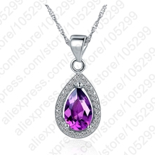 PATICO High quality 925 Sterling Silver  Pendant Necklace Clear CZ Crystal Necklace For Women Wedding Necklaces & Pendants