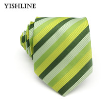XT083 Luxury Mens 100% Silk Tie 8CM Green Striped Jacquard Woven Classic Necktie Men Tie Neck Wedding Business Party Neckwear(China)