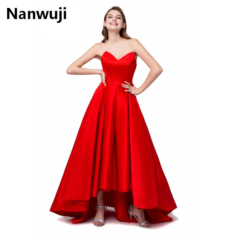 Cheap Long Red Taffeta  evening dresses 2017 robe de soiree High Low Formal Evening Gowns For Wedding Party Prom Dresses