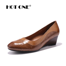 Women's Pumps Shoes 2017 Brand Genuine Leather Women Wedges Dress Shoes Pumps for Women Office ladies Pure Leather Shoes 078-001