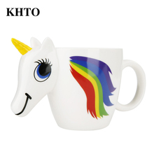 KHTO Cartoon Unicorn Mug Unicorn Discoloration Cup 3D Ceramic Coffee Cup Cute Gift color changing Magical Horse Cups(China)