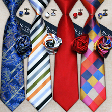 Hi-Tie Fashion 40 Styles Gravata Tie Hanky Cufflink Sets 100% Silk Neckties Ties for Mens Business Wedding Party Free Shipping