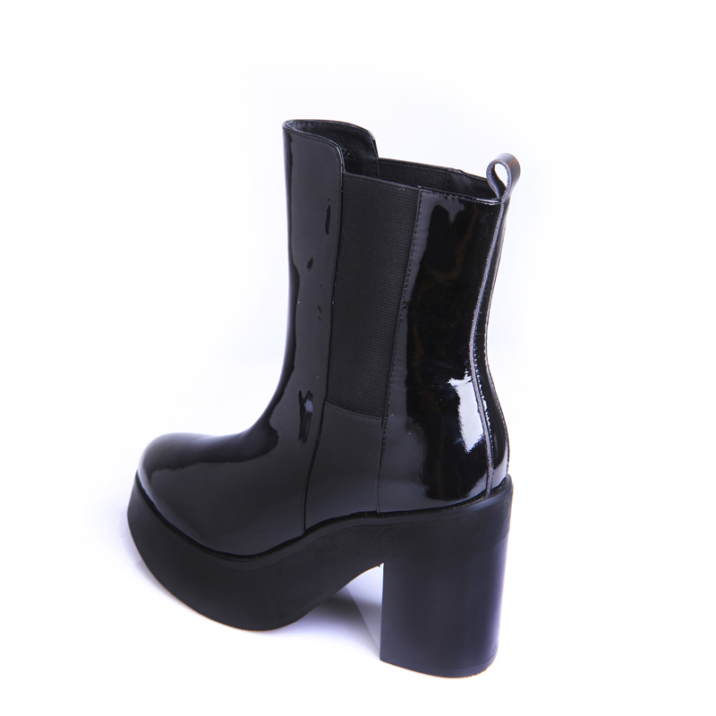 Black Cowhide Patent Leather Pointy Toe Heavy-bottomed Thick Heels Women Fashion Ankle Boots High Quality Female Booties Shoes<br><br>Aliexpress